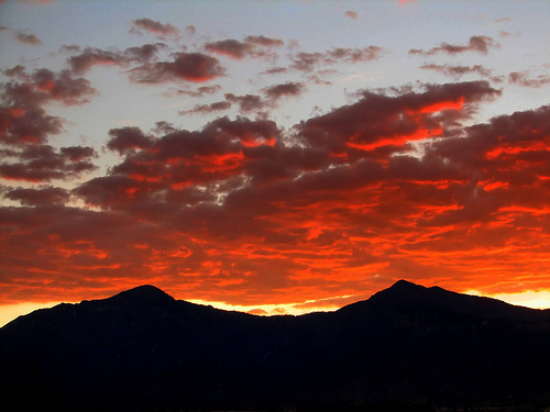 """Huachuca Mountains"" Sunset in December by ThreadedThoughts"
