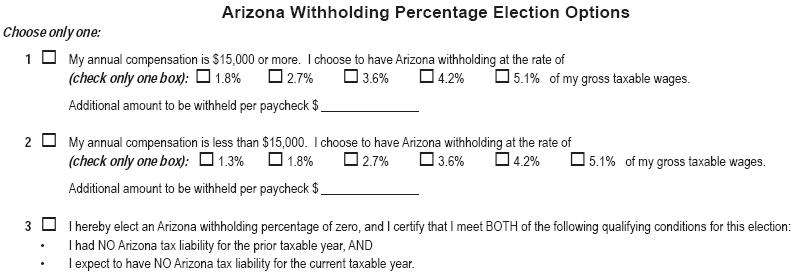 Arizona Withholding Percentage Election
