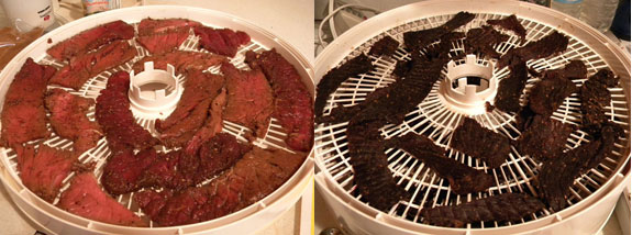 Beef Jerky - Before and After in the Dehydrating Trays