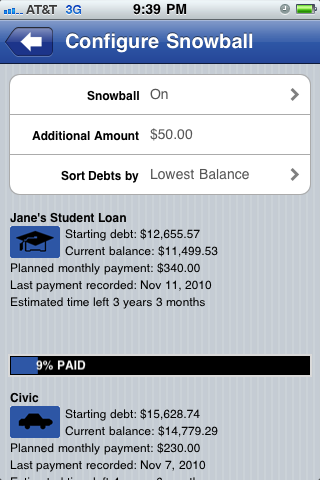 Configure Snowball screenshot Pay Off Debt for iPhone iPod and iPad