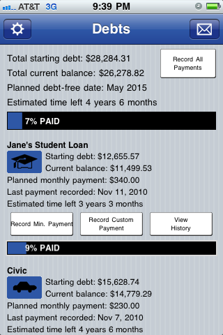 Debt screenshot Pay Off Debt for iPhone iPod and iPad