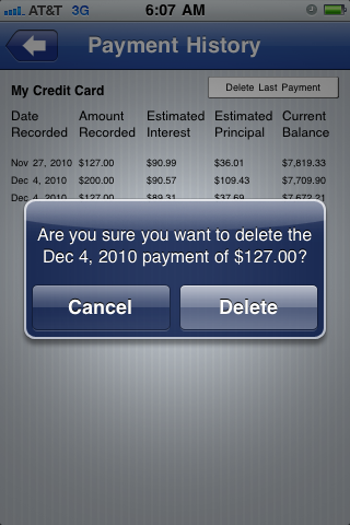Deleting Payment screen screenshot Pay Off Debt for iPhone iPod and iPad