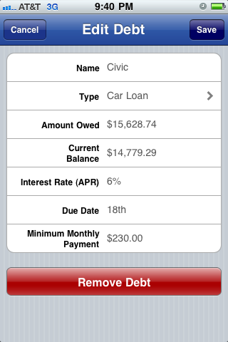Edit Debt screenshot Pay Off Debt for iPhone iPod and iPad