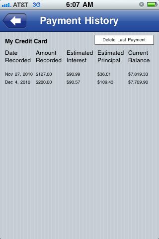 Payment History screen screenshot Pay Off Debt for iPhone iPod and iPad