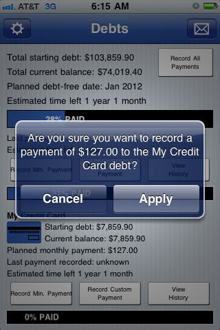 Recording a payment screenshot Pay Off Debt for iPhone iPod and iPad